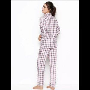 Victoria's Secret White Pink Plaid Flannel Pajamas